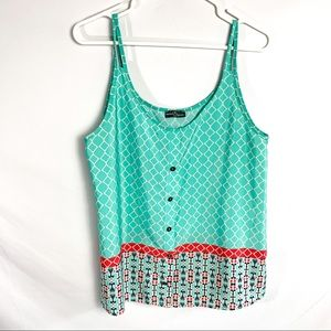 Market & spruce abstract blue and white tank top